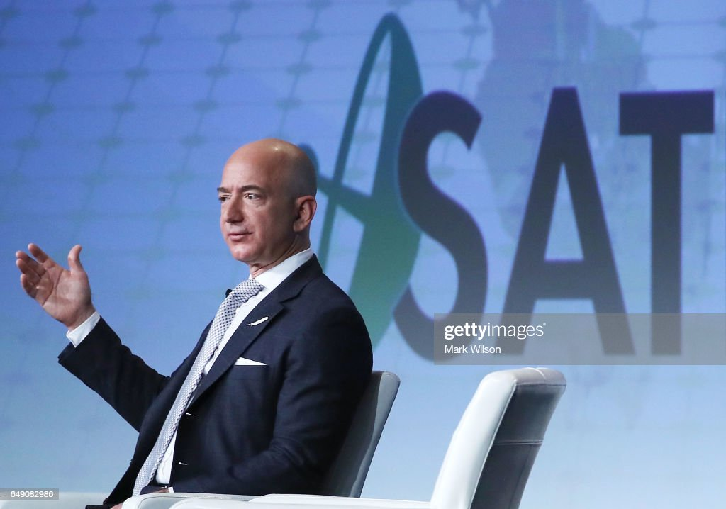 Amazon CEO And Founder Of Blue Origin Jeff Bezos Speaks At Satellite Industry Conference : News Photo
