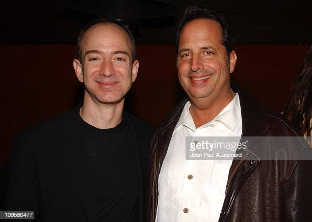 Jeff Bezos CEO of Amazon and Jon Lovitz during Amazoncom Goes Hollywood for the Holidays Inside at Poolside at the Hollywood Roosevelt Hotel in...