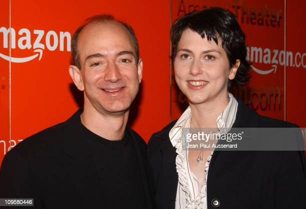 Jeff Bezos CEO of Amazon and wife Mackenzie during Amazoncom Goes Hollywood for the Holidays Orange Carpet at Hollywood Roosevelt Hotel in Hollywood...