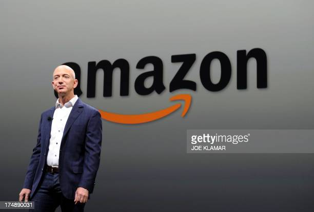 Jeff Bezos CEO of Amazon duringa press conference in this September 06 2012 file photo in Santa Monica California The ecommerce giant announced July...