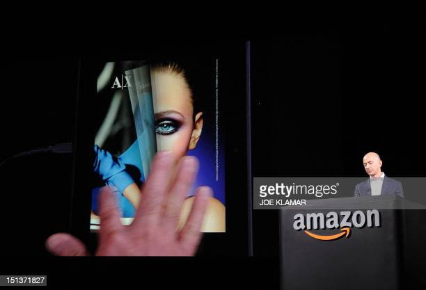 Jeff Bezos CEO of AMAZON introduces new Kindle Fire HD Family and Kindle Paper white during the AMAZON press conference on September 06 2012 in Santa...