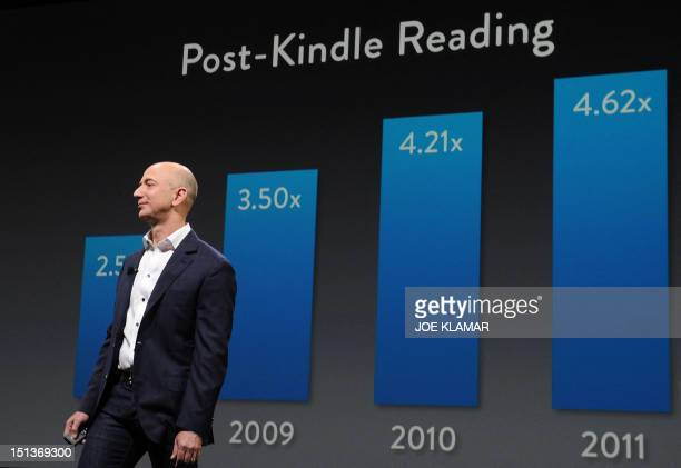 Jeff Bezos CEO of AMAZON introduces new Kindle Fire HD Family during the AMAZON press conference on September 06 2012 in Santa Monica California AFP...