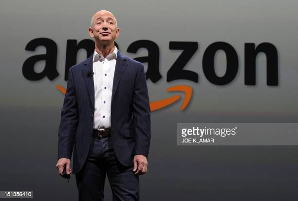 Jeff Bezos CEO of Amazon introduces new Kindle Paper white during a press conference on September 06 2012 in Santa Monica California The new Kindle...