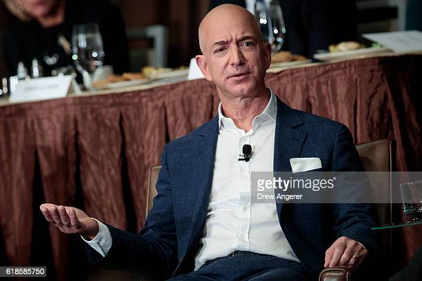 Jeff Bezos Chairman and founder of Amazoncom and owner of The Washington Post addresses the Economic Club of New York at the Sheraton New York Times...