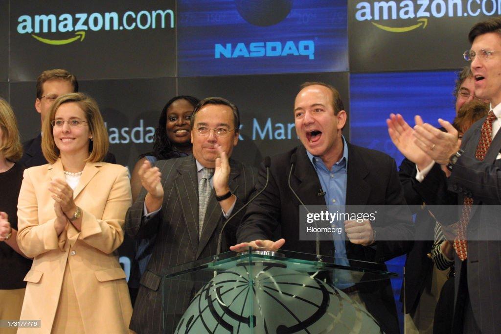 Amazon.com CEO Jeff Bezos Rings Nasdaq Opening Bell : News Photo