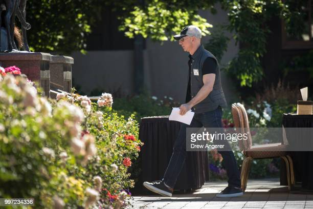 Jeff Bezos chief executive officer of Amazon arrives to deliver a keynote speech at the annual Allen Company Sun Valley Conference July 12 2018 in...