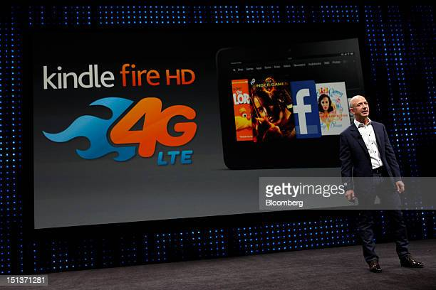 Jeff Bezos chief executive officer of Amazoncom Inc introduces the 4G LTE version of the Kindle Fire HD tablet at a news conference in Santa Monica...