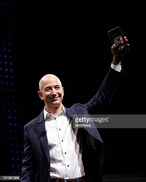 Jeff Bezos chief executive officer of Amazoncom Inc introduces the Kindle Fire HD tablet at a news conference in Santa Monica California US on...