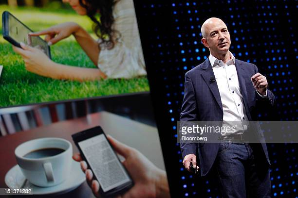 Jeff Bezos chief executive officer of Amazoncom Inc introduces the Kindle Fire HD tablets at a news conference in Santa Monica California US on...