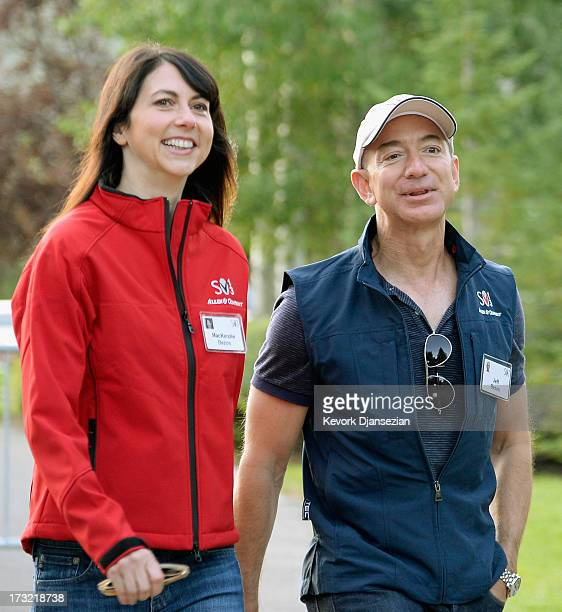 Jeff Bezos founder and CEO Amazoncom and his wife Mackenzie Bezos arrive for morning session of the Allen Co annual conference at the Sun Valley...