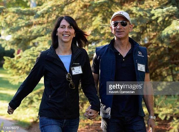 Jeff Bezos founder and CEO Amazoncom and his wife Mackenzie Bezos arrives for the Allen Co arrives to the Allen Co annual conference July 12 2013 in...