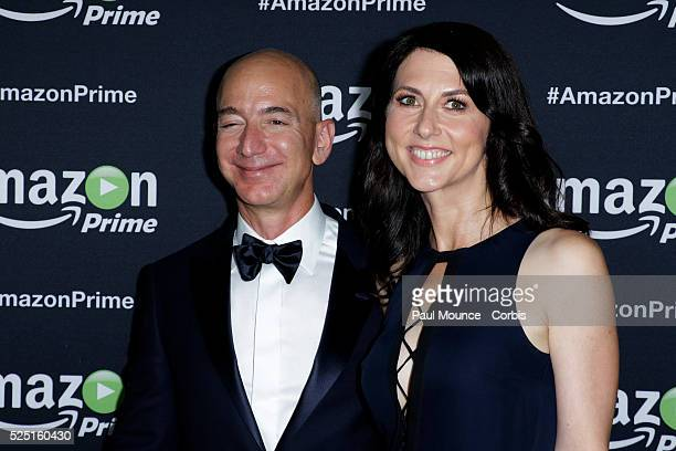 Jeff Bezos Founder and CEO of Amazon and his wife MacKenzie Bezos arrive on the red carpet at the Amazon Studios afterparty celebrating the 67th...