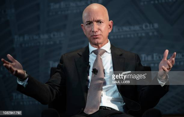 Jeff Bezos founder and CEO of Amazon speaks during the Economic Club of Washington's Milestone Celebration event in Washington DC on September 13 2018
