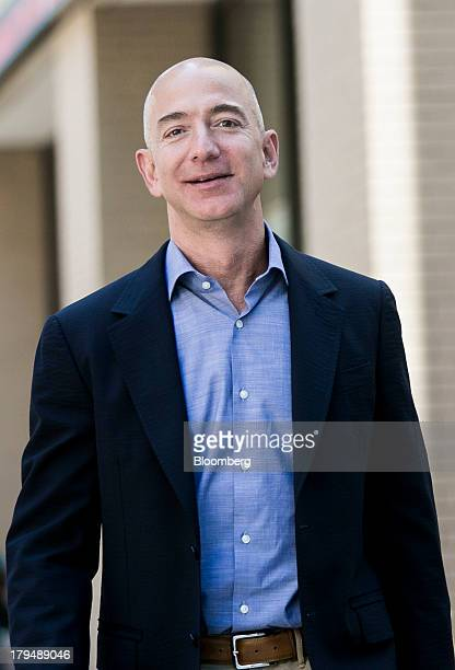 Jeff Bezos founder and chief executive officer of Amazon Inc and new owner of The Washington Post leaves from the newspaper's offices after a meeting...