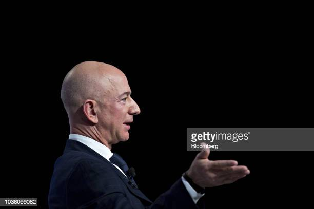 Jeff Bezos founder and chief executive officer of Amazoncom Inc speaks during a discussion at the Air Force Association's Air Space and Cyber...