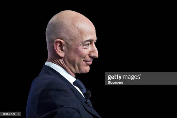 Jeff Bezos founder and chief executive officer of Amazoncom Inc listens during a discussion at the Air Force Association's Air Space and Cyber...