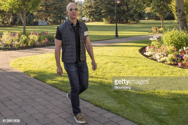 Jeff Bezos founder and chief executive officer of Amazoncom Inc arrives for the morning sessions during the Allen Co Media and Technology Conference...