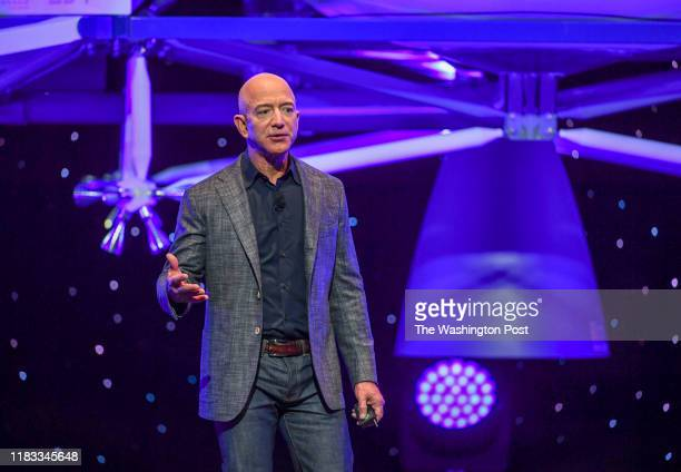 """Jeff Bezos, founder of Amazon, Blue Origin and owner of The Washington Post via Getty Images, introduces their newly developed lunar lander """"Blue..."""