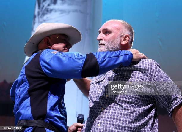 Jeff Bezos hugs Chef Jose Andres after announcing a $100 million award for projects that help humanity on July 20, 2021 in Van Horn, Texas. Mr. Bezos...