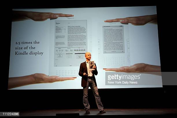Jeff Bezos of Amazon introduces the Kindle DX at a press conference Wednesday at Pace Univerity in NY which will be one of six schools partnering...