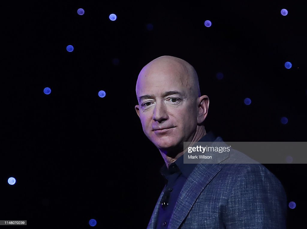Blue Origin Founder Jeff Bezos Makes Announcement At Satellite 2019 Conference In DC : News Photo