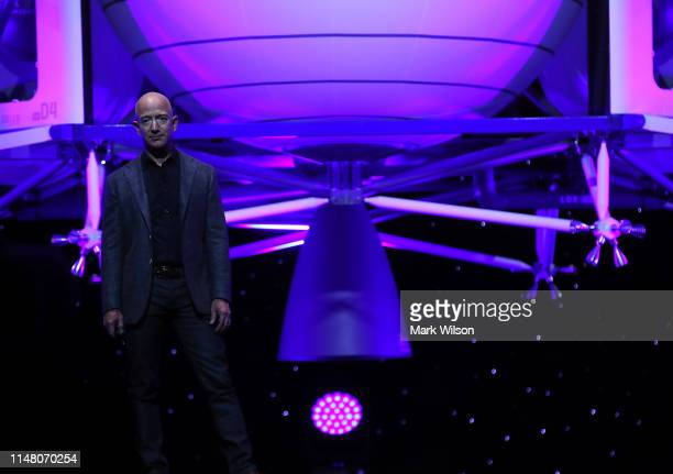 Jeff Bezos, owner of Blue Origin, introduces a new lunar landing module called Blue Moon during an event at the Washington Convention Center, May 9,...