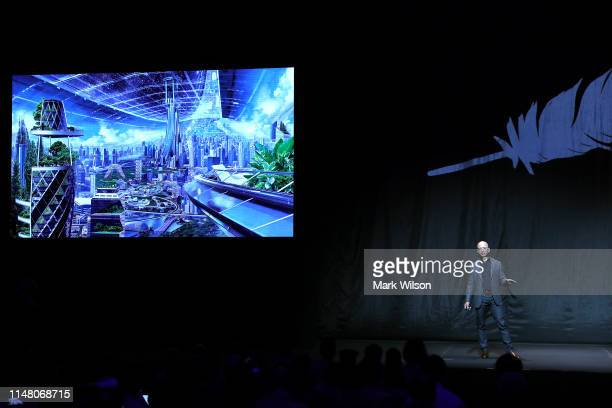 Jeff Bezos owner of Blue Origin speaks about outer space before unveiling a new lunar landing module called Blue Moon during an event at the...