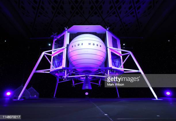 Jeff Bezos, owner of Blue Origin, speaks about outer space before unveiling a new lunar landing module called Blue Moon, during an event at the...