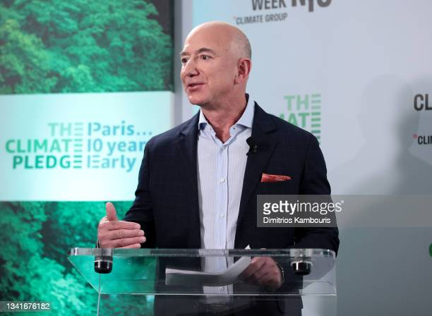 Jeff Bezos speaks during the Climate Week NYC Leaders' Reception at PEAK at Hudson Yards on September 20, 2021 in New York City.