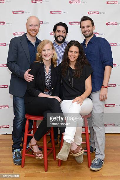 Jeff Biehl Evan Cabnet Brian Avers Heidi Armbruster and Katie Kreisler attend the Poor Behavior press preview at Primary Stages Rehearsal Studio on...