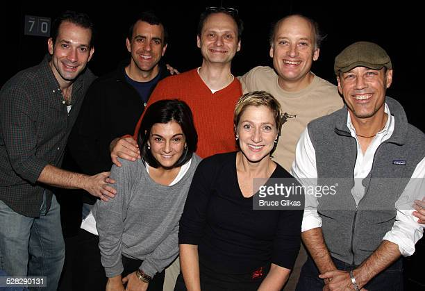 Jeff Binder Joseph Lyle Baker Marissa Matrone Michael Mastro Edie Falco Frank Wood and Kevin Geer pose at a rehearsal for the 10th anniversary...