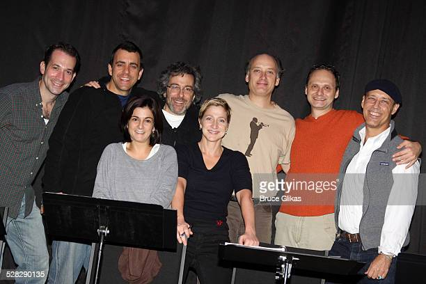 Jeff Binder Joseph Lyle Baker Marissa Matrone Playwright Warren Leight Edie Falco Frank Wood Michael Mastro and Kevin Geer pose at a rehearsal for...