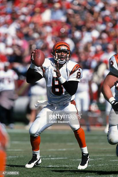 Jeff Blake of the Cincinnati Bengals attempts a pass during a National Football League game against the San Francisco 49ers played on October 20 1996...