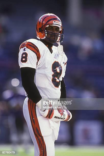 Jeff Blake of the Cincinnati Bengals before a NFL football game against the Baltimore Ravens on December 8 1996 at Memorial Stadium in Baltimore...
