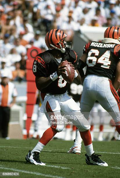 Jeff Blake of the Cincinnati Bengals drops back to pass against the Tampa Bay Buccaneers during an NFL football game October 8 1995 at Tampa Stadium...