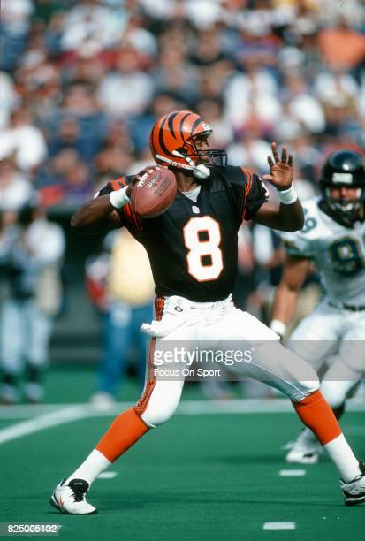 Jeff Blake of the Cincinnati Bengals looks to pass against the Jacksonville Jaguars during an NFL football game October 27 1996 at Riverfront Stadium...