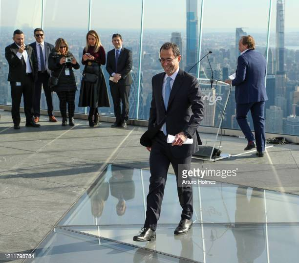 Jeff Blau Chief Executive Officer and a partner of Related Companies speaks at the opening of Edge the Western Hemisphere's highest outdoor sky deck...