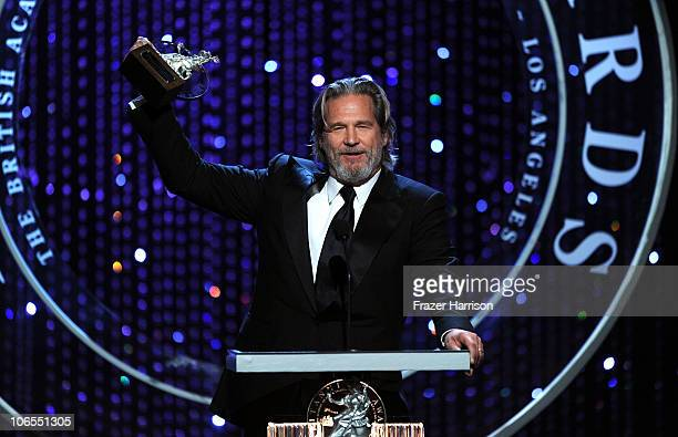 Jeff Bridges accepts The Stanley Kubrick Britannia Award for Excellence in Film onstage during the BAFTA Los Angeles 2010 Britannia Awards held at...
