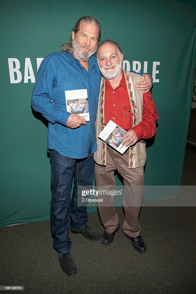 Jeff Bridges (L) and Bernie Glassman visit Barnes & Noble Union Square on January 8, 2013 in New York City.