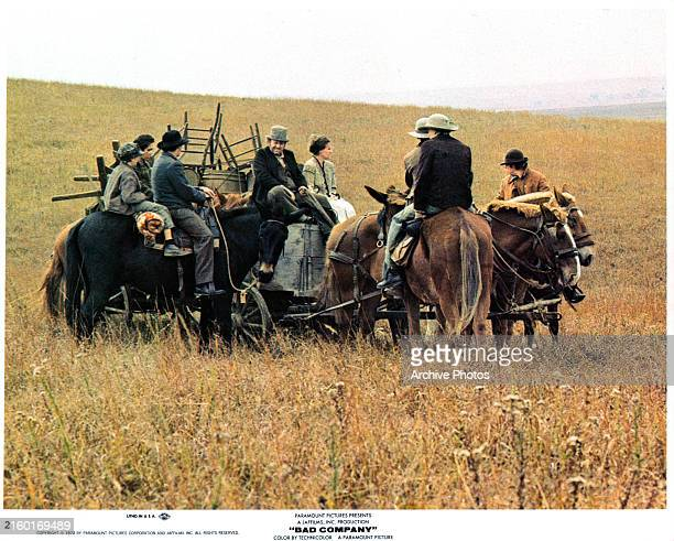 Jeff Bridges and several other pioneers head westward in a scene from the film 'Bad Company' 1972