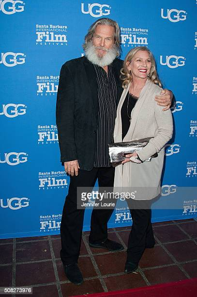 Jeff Bridges and Susan Geston arrive at the opening night of the 31st Santa Barbara International Film Festival featuring 'The Little Prince' at the...