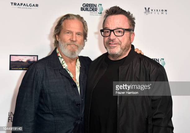 Jeff Bridges and Tom Arnold attend the Premiere Of Vision Films' 'Living In The Future's Past' at Ahrya Fine Arts Theater on October 2 2018 in...