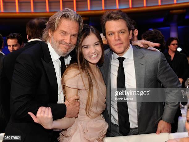 Jeff Bridges Hailee Steinfeld and Matt Damon attends the 16th Annual Critics Choice Movie Awards at the Hollywood Palladium on January 14 2011 in Los...
