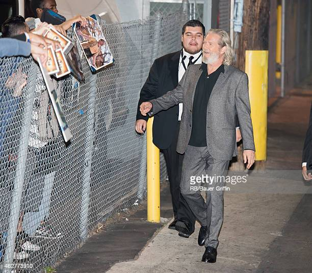Jeff Bridges is seen at 'Jimmy Kimmel Live' on February 04 2015 in Los Angeles California