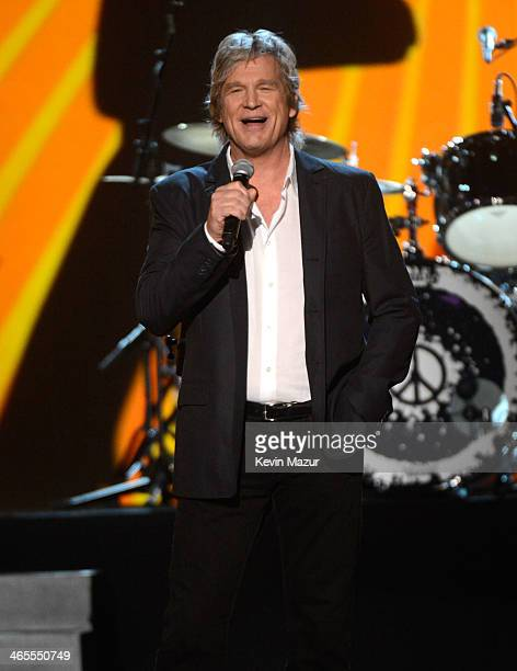 Jeff Bridges speaks onstage at The Night That Changed America A GRAMMY Salute To The Beatles at Los Angeles Convention Center on January 27 2014 in...