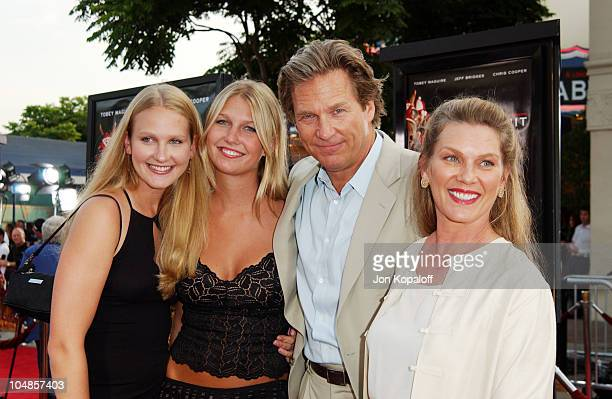 Jeff Bridges wife Susan and daughters during Seabiscuit Los Angeles Premiere at Mann's Bruin in Los Angeles California United States