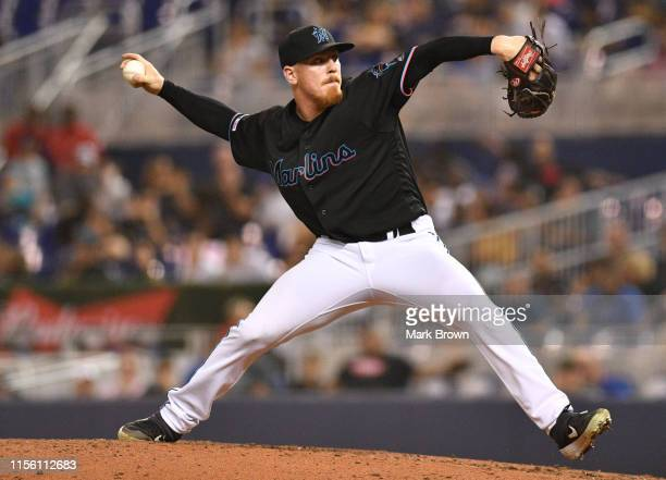 Jeff Brigham of the Miami Marlins delivers a pitch against the Pittsburgh Pirates at Marlins Park on June 14 2019 in Miami Florida