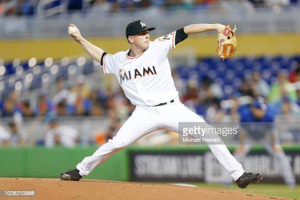 Jeff Brigham of the Miami Marlins delivers a pitch in the first inning of his MLB debut against the Toronto Blue Jays at Marlins Park on September 2...