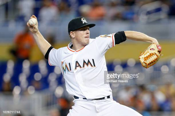 Jeff Brigham of the Miami Marlins delivers a pitch in the second inning against the Toronto Blue Jays at Marlins Park on September 2 2018 in Miami...