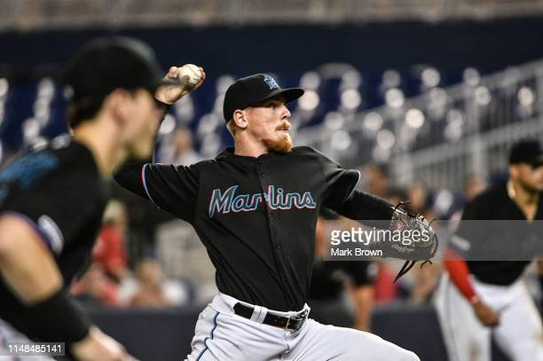 Jeff Brigham of the Miami Marlins delivers a pitch in the seventh inning against the Atlanta Braves at Marlins Park on June 7 2019 in Miami Florida